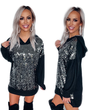 Top Priority Sequin Hoodie Tunic