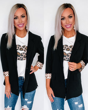 Boss Lady Leopard Cuff Blazer - Black