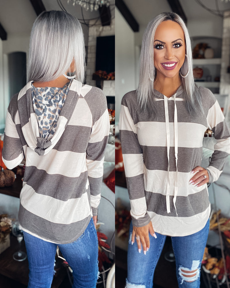 Going The Distance Stripe Hoodie - Mocha