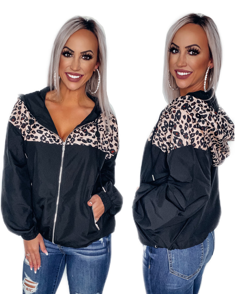 Rainy Days Leopard Windbreaker - Black