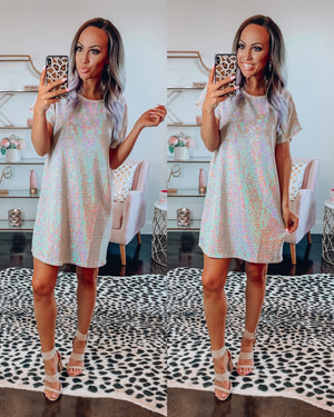 Disco Babe Sequin Dress - Dusty Pink