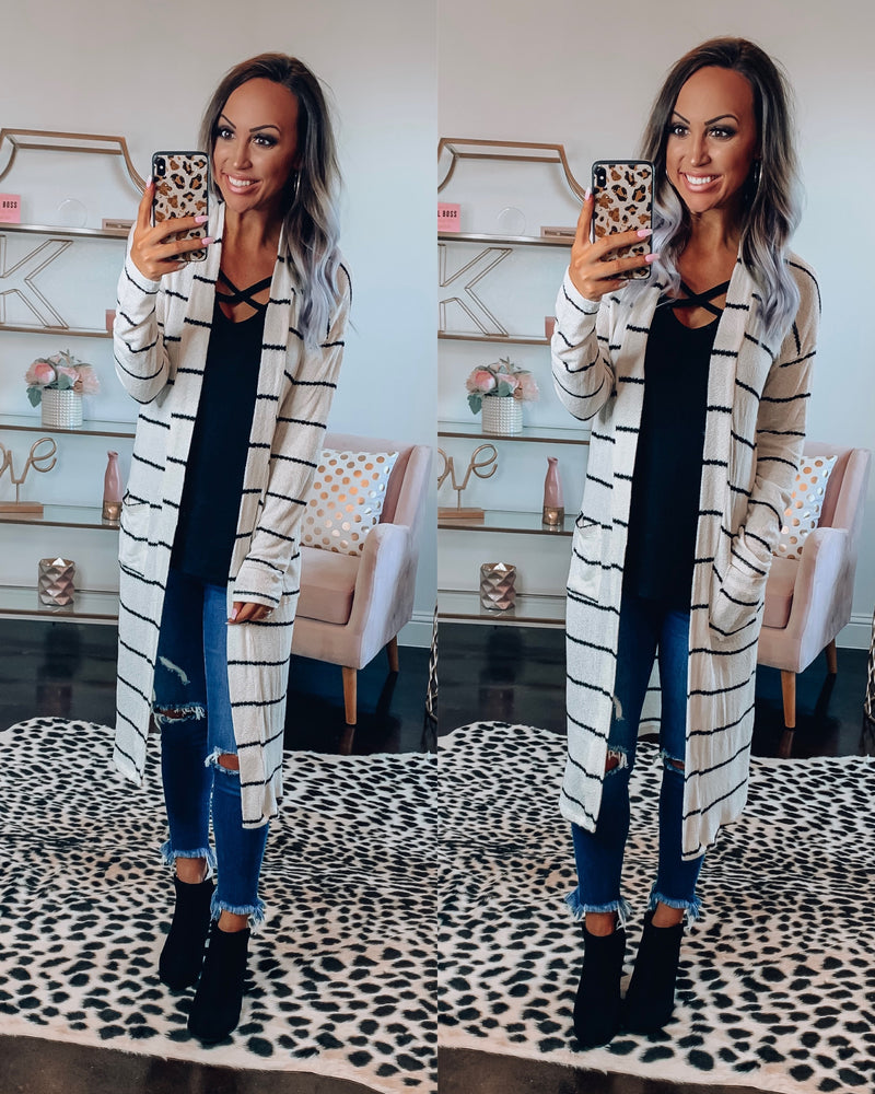 Ivory/Black Stripe Cardigan