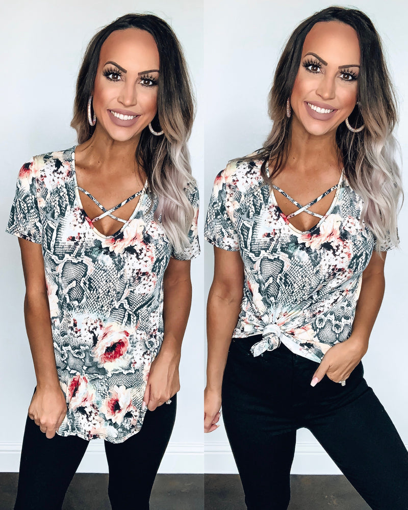 Snake Floral Criss Cross Top