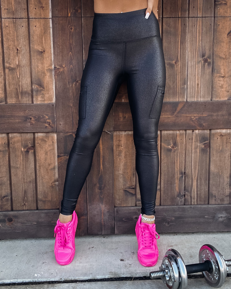 Crackled Leather Pocket Leggings