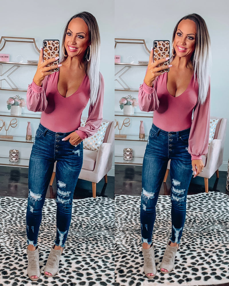 Mauve Balloon Sleeve Bodysuit