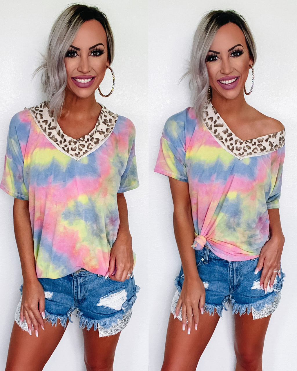 Lean On Me Leopard Tie Dye Top {BombDeal}
