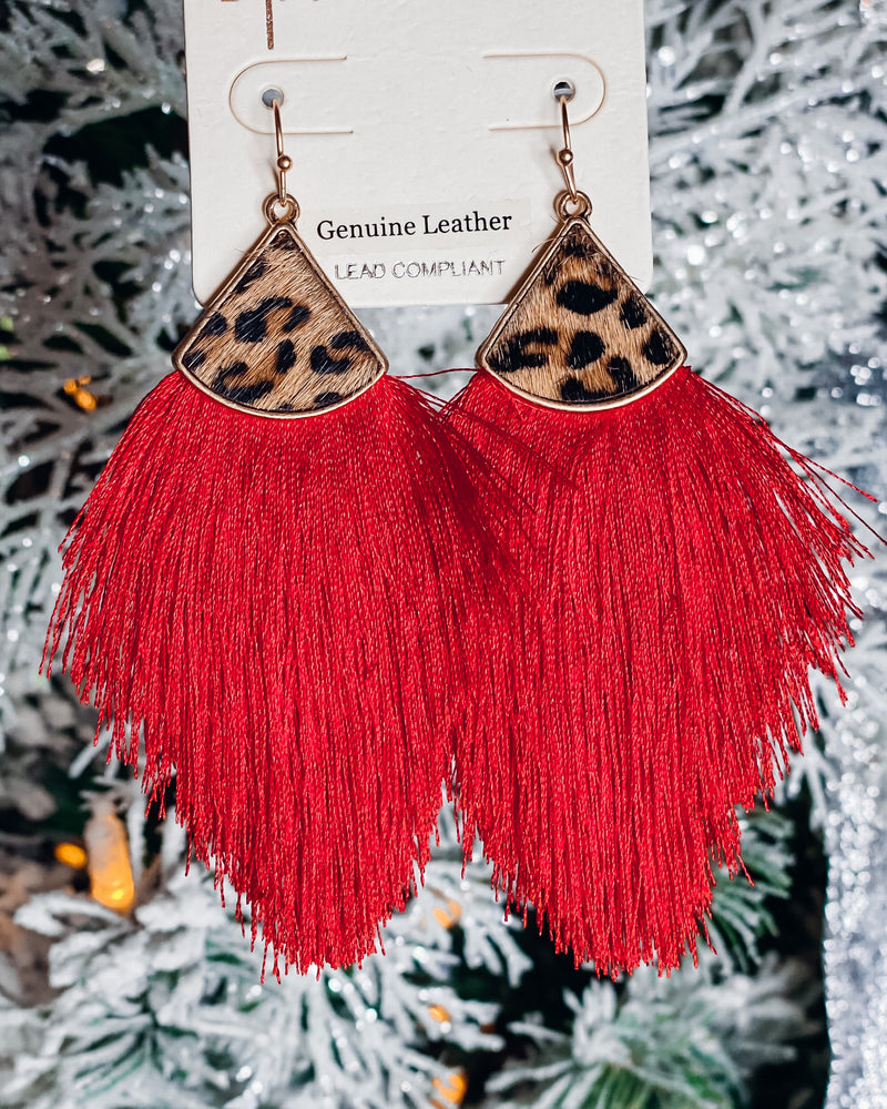 Red Tassel Leopard Earrings