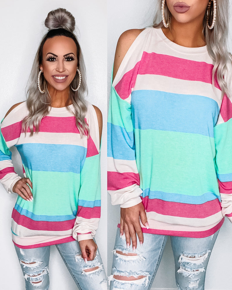 Colorblock Open Shoulder Top - Mint/Fuchsia