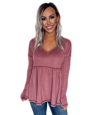 Make Me A Promise Babydoll Top - Mauve