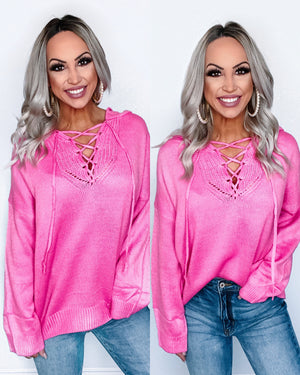 Never Be The Same Lace Up Hoodie - Pink