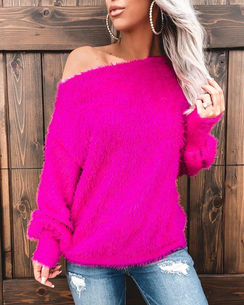 Fuzzy Dreams Top - Fuchsia