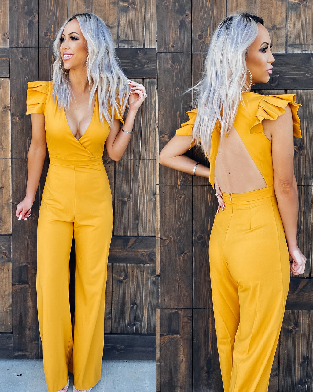Adore You Ruffle Jumpsuit - Mustard