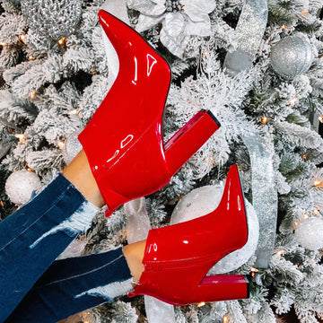 Pointy Patent Red Booties