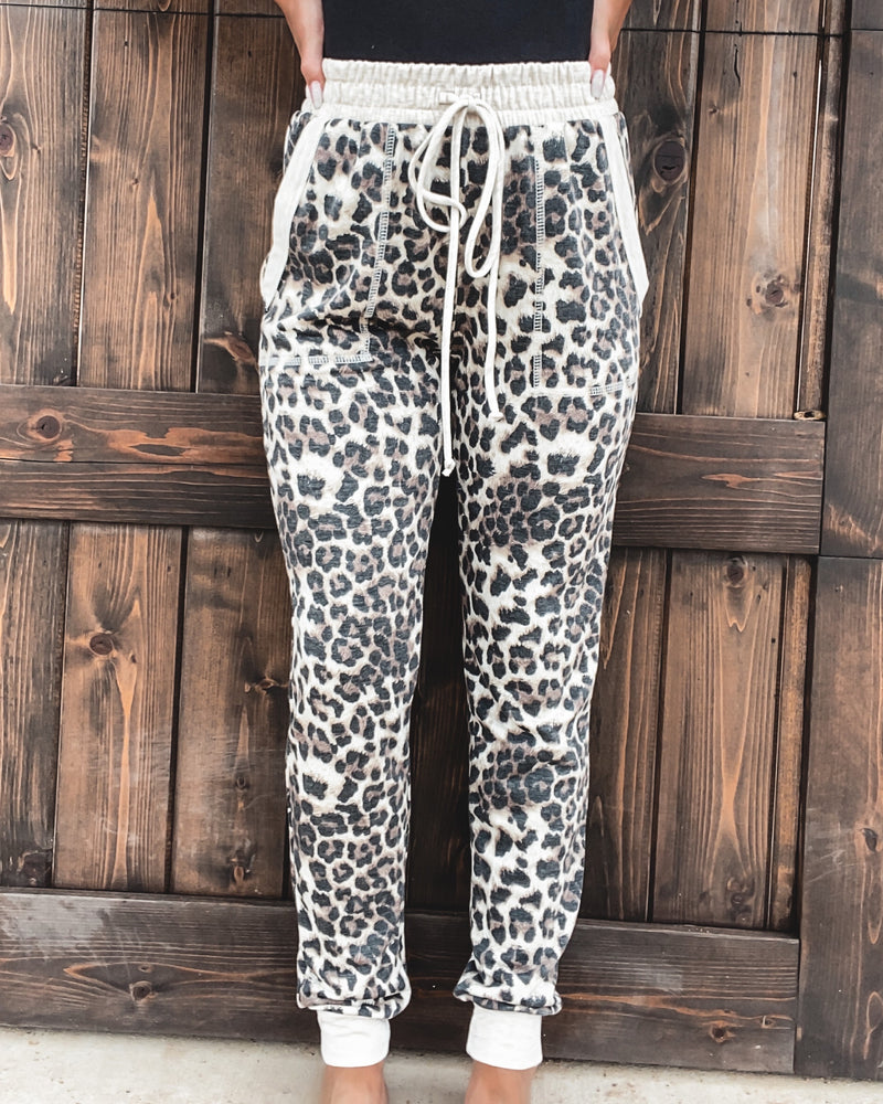 Leopard Drawstring Lounge Joggers