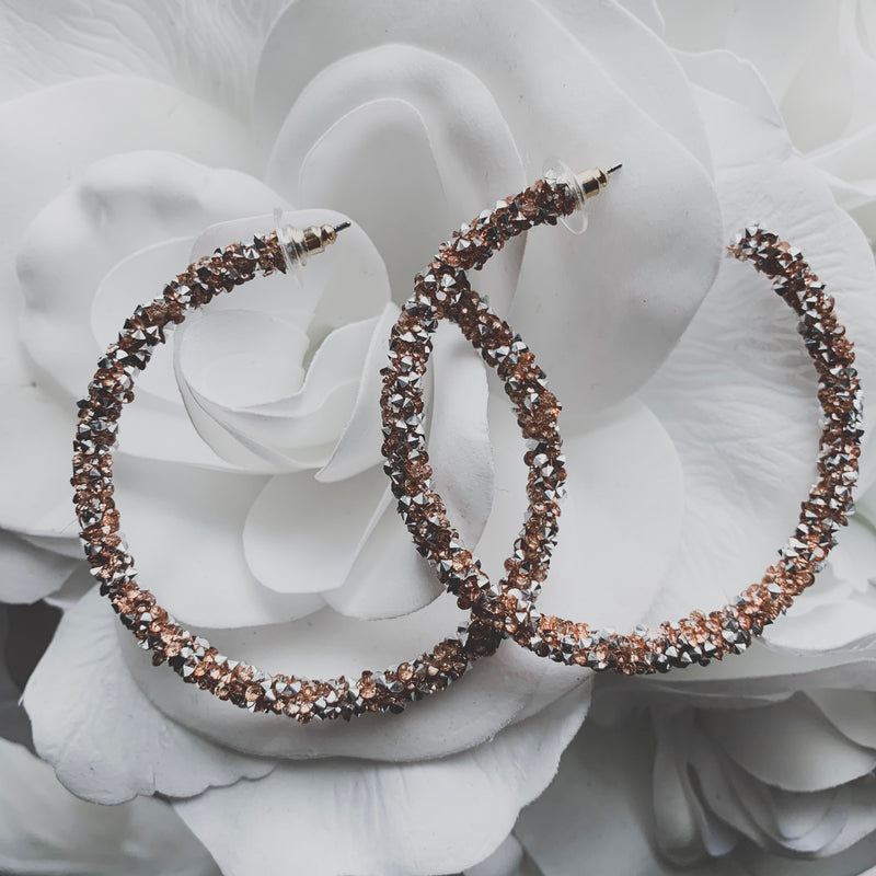 Rhinestone Coated Hoop Earrings - Rose Gold