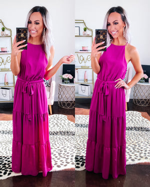 Tea Party Tiered Maxi Dress - Magenta