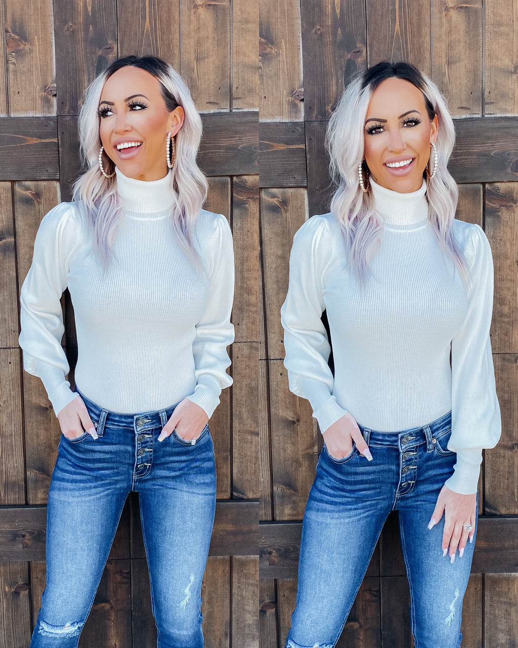 Cozy & Chic Turtle Neck Sweater - White