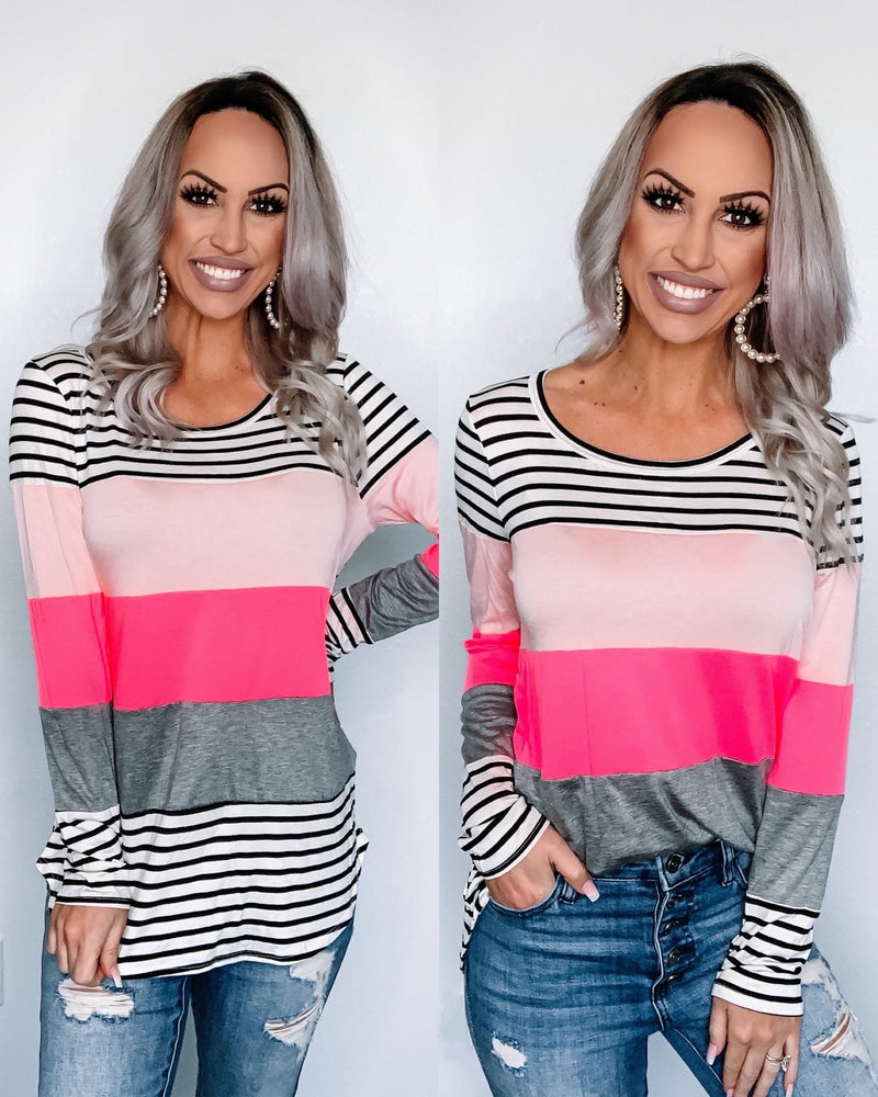 Colorblock Stripe Long Sleeve Top
