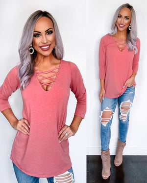 Coral Criss Cross 3/4 Sleeve Top