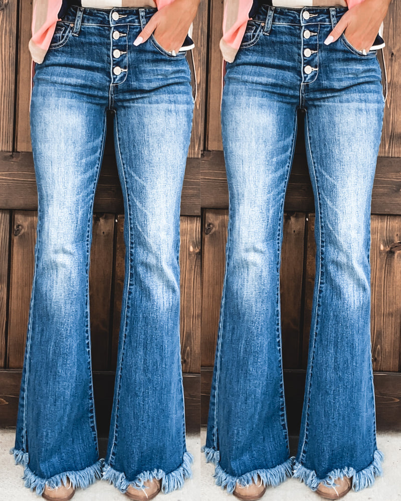 Ashlyn Frayed Denim Bell Bottoms