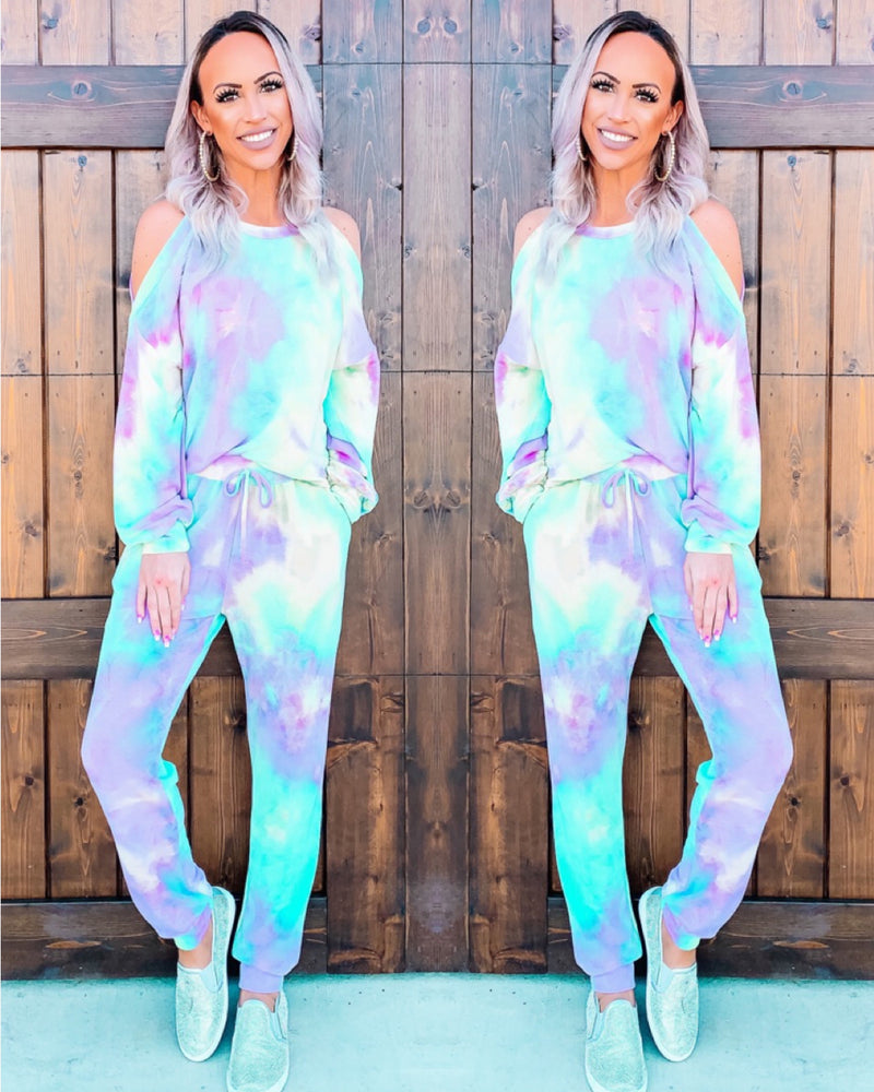 Tie Dye Vibes Lounge Set - Mint/Purple