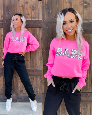 Babe Sweatshirt - Hot Pink