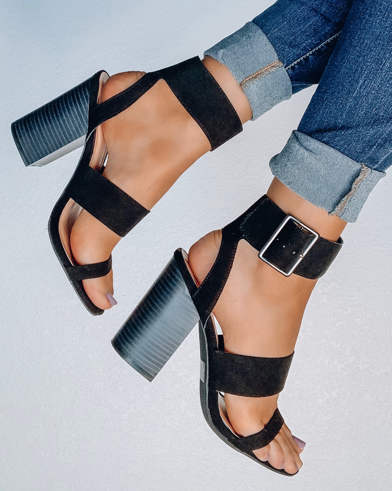 Trish Black Block Heels