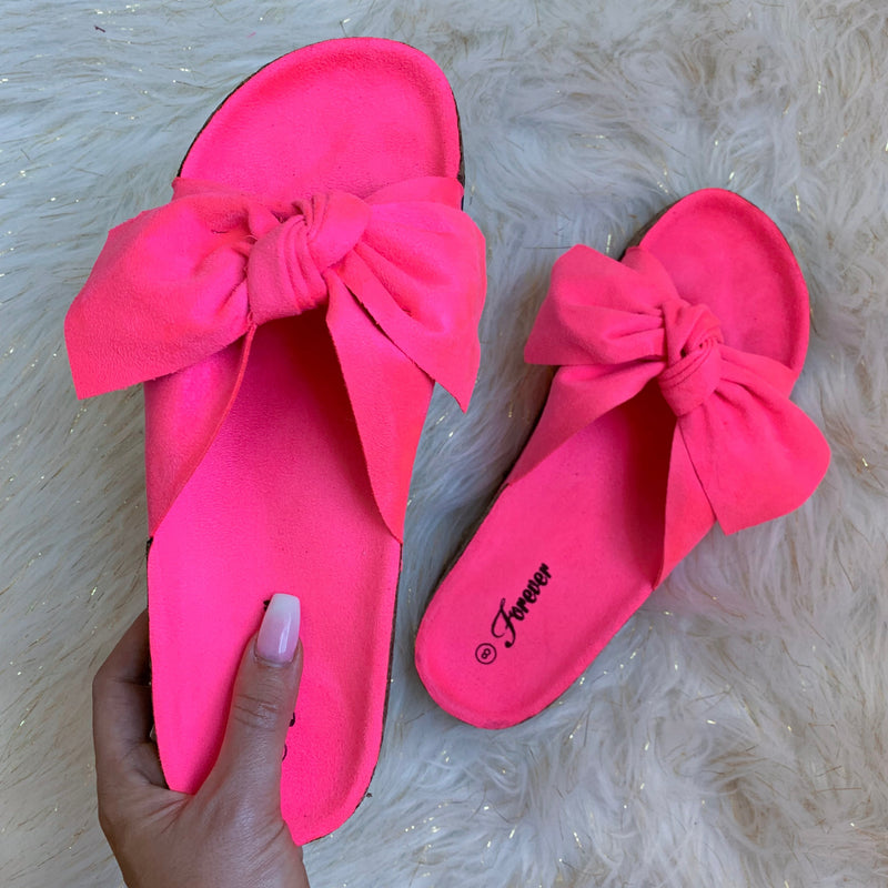 Neon Pink Bow Sandals