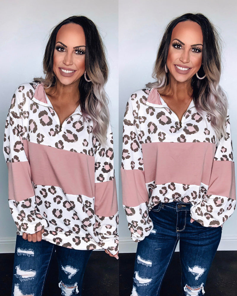Lust Leopard Oversized Pullover - Mauve