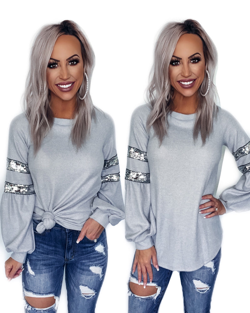 Miss Cutie Sequin Puff Sleeve Sweater