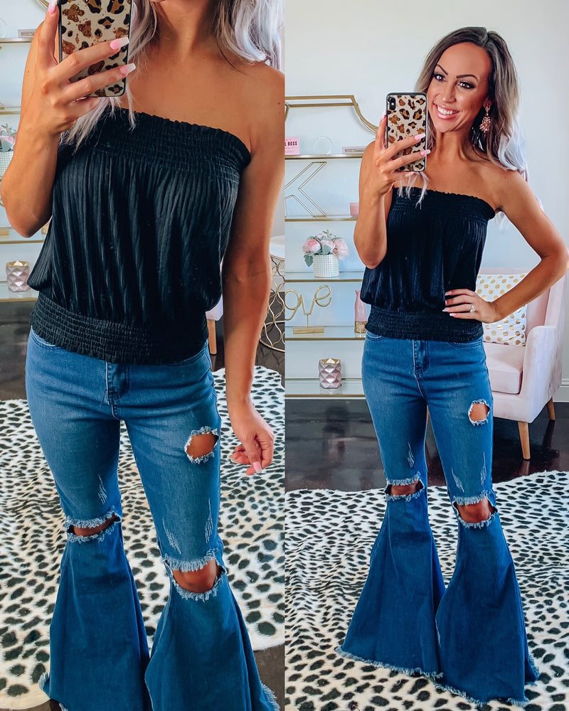 Black Smocked Tube Top
