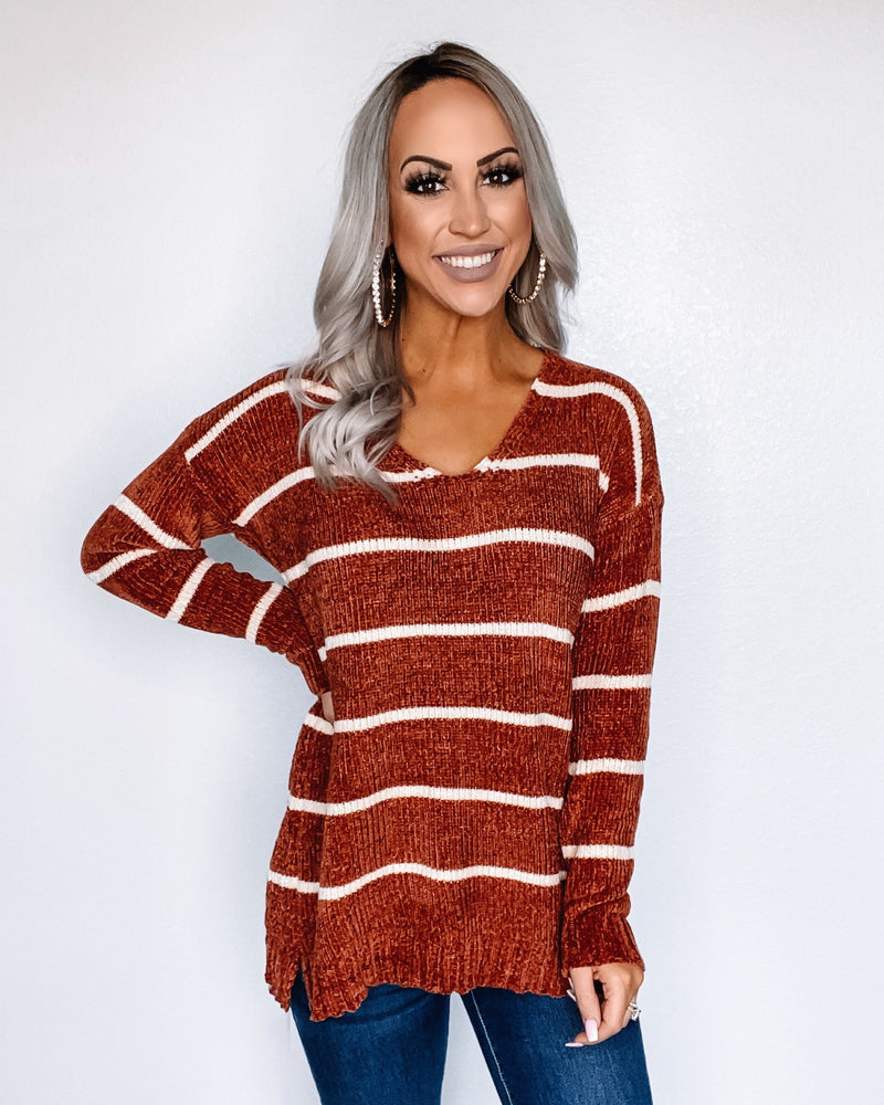 Rust Chenille Stripe Sweater