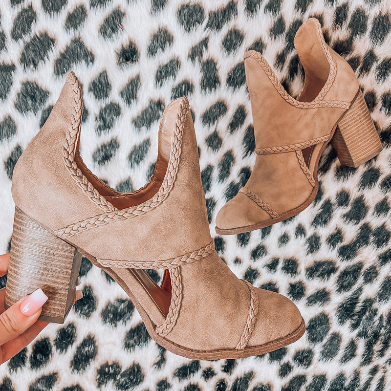 Olivia Braided Booties - Taupe