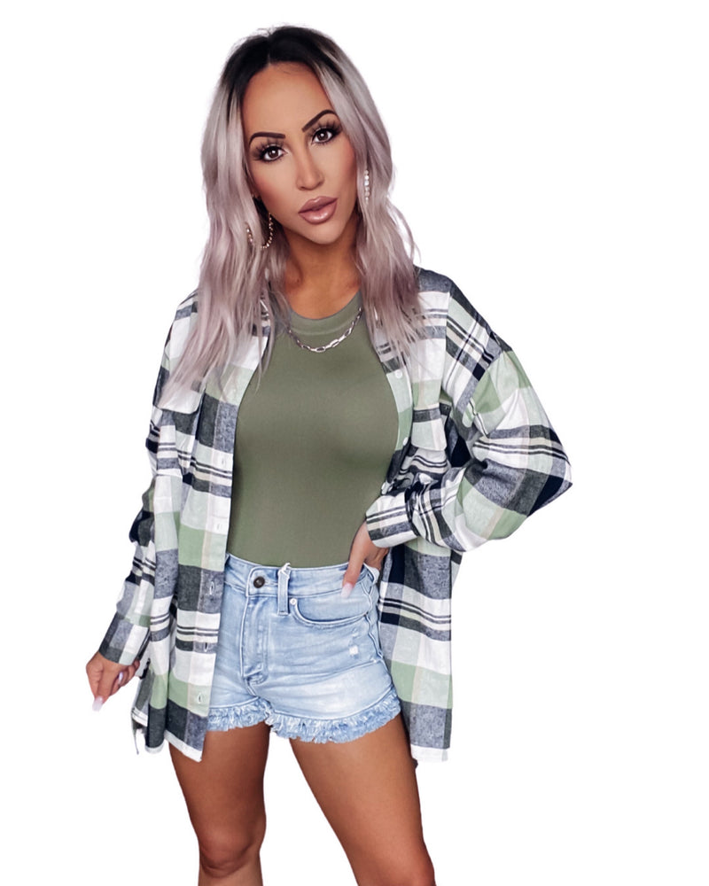 Throwback Plaid Flannel - Sage