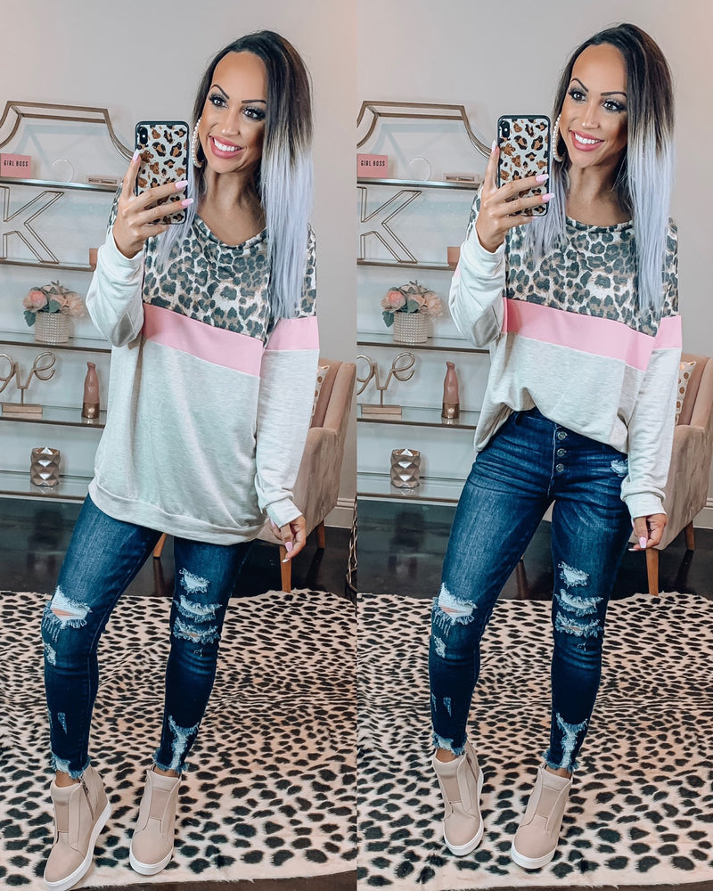 Gonna Get You Leopard Sweatshirt - Oatmeal/Pink