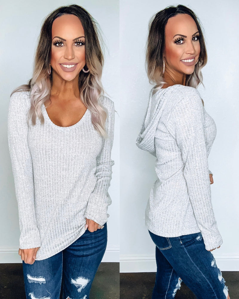 Grey Ribbed Hoodie Top