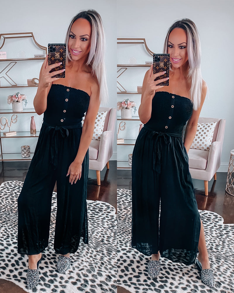 Miami Smocked Jumpsuit - Black