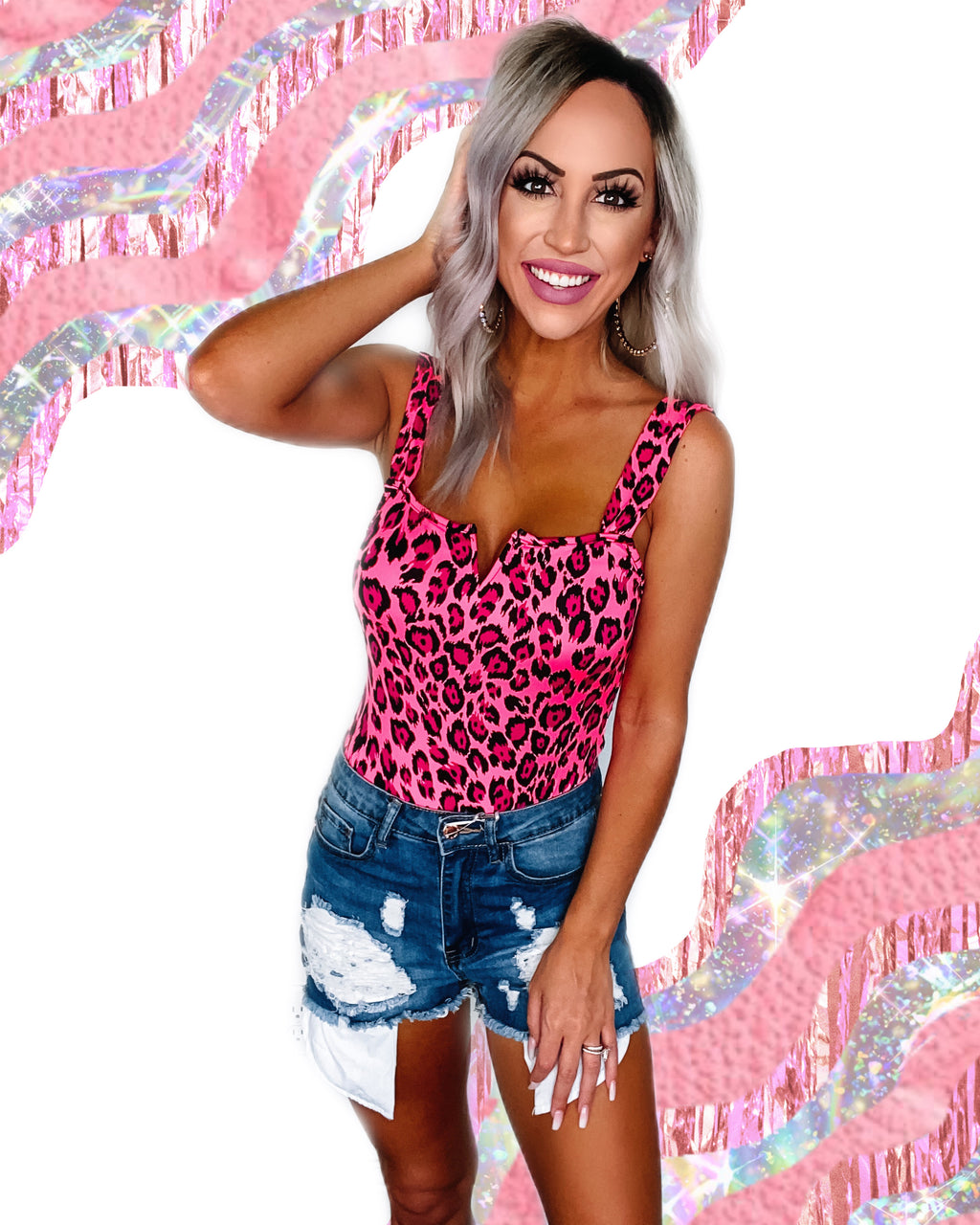 Chase My Heart Cheetah Bodysuit - Neon Pink
