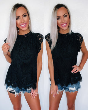 Spring Forward Lace Top - Black