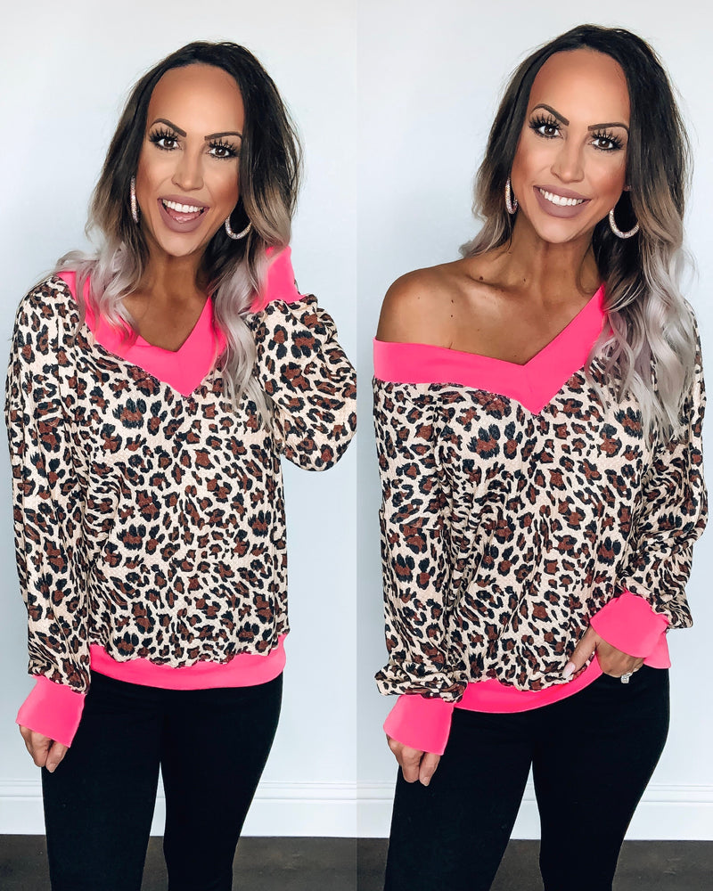 Wild Vibes Long Sleeve Top - Neon Pink