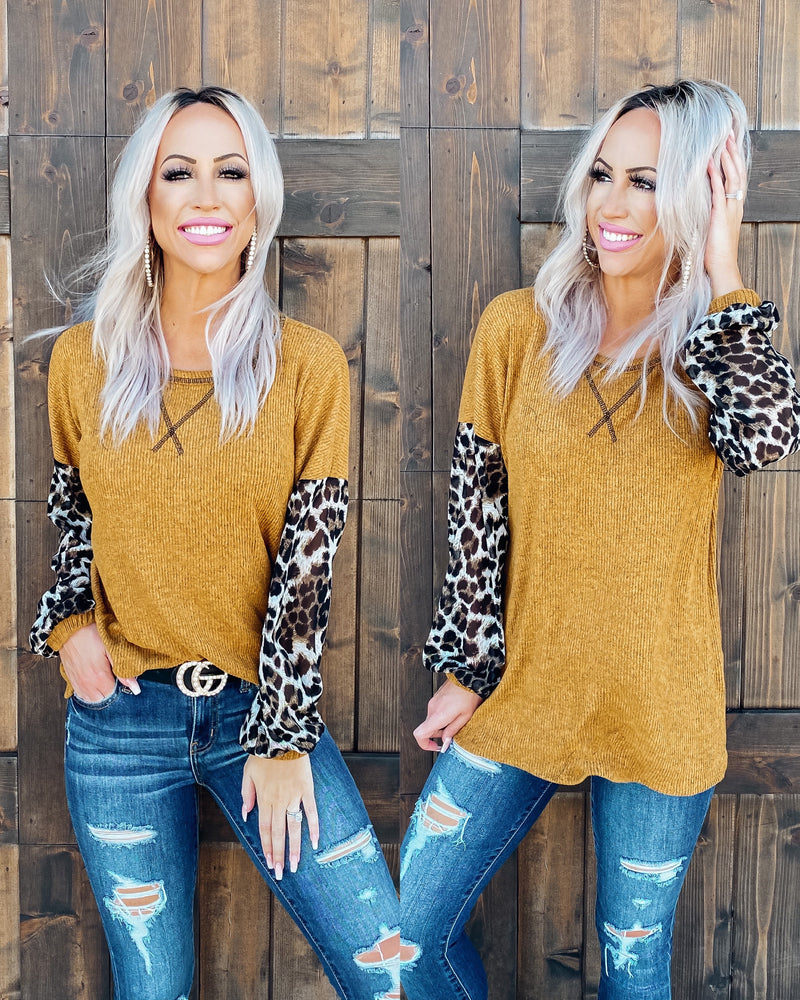 Feeling The Love Leopard Puff Sleeve Top - Mustard