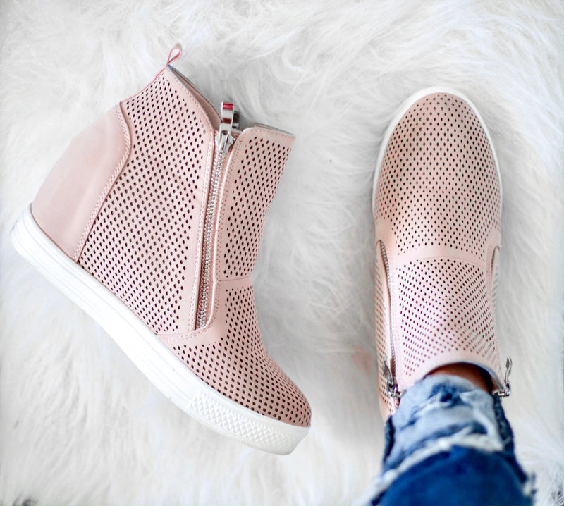 Blakely Wedge Sneakers - Blush