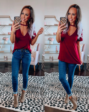 Out & About Choker Top - Burgundy