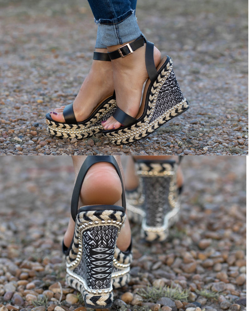 Black Tribal Studded Wedges