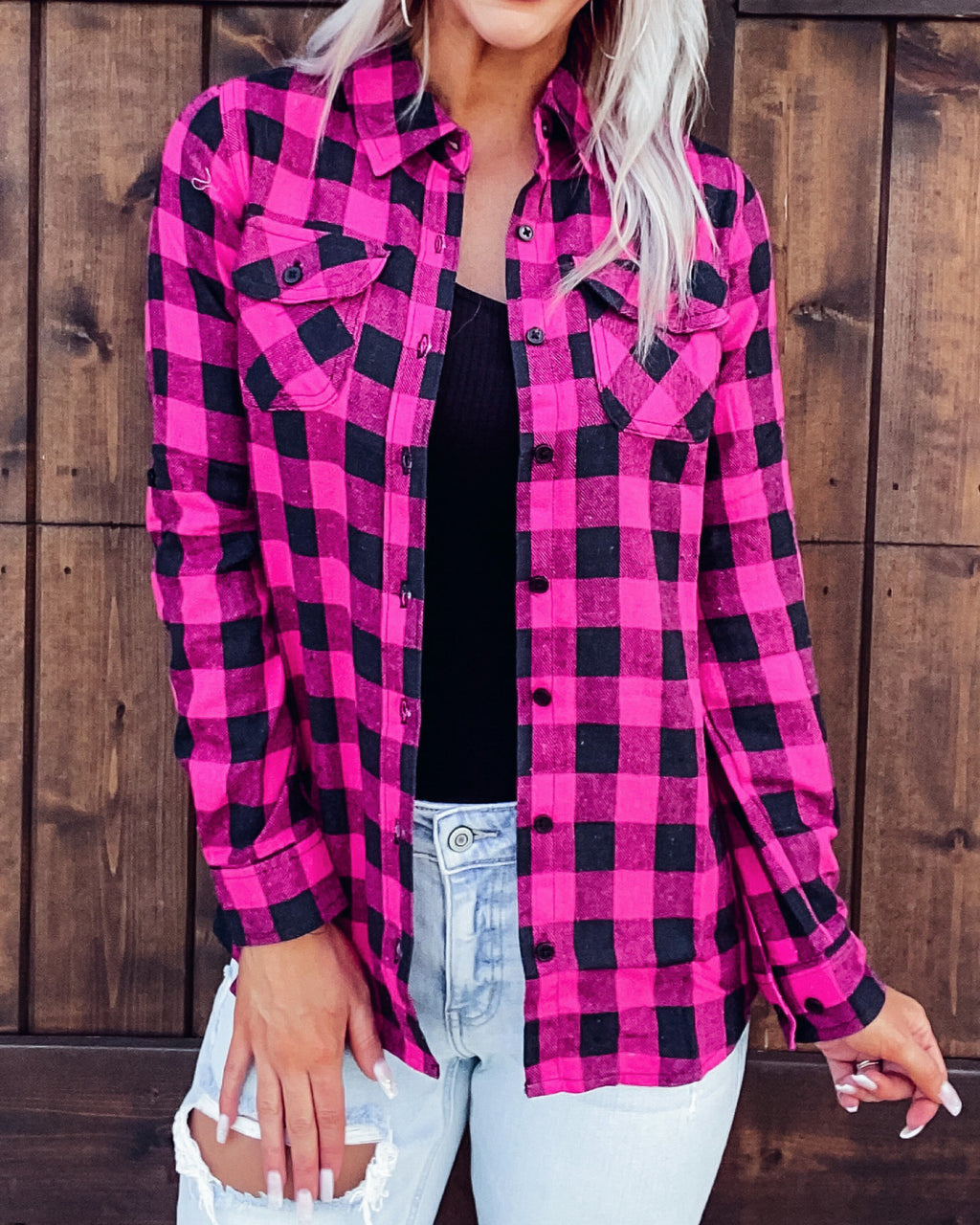 Cute As A Button Flannel - Pink