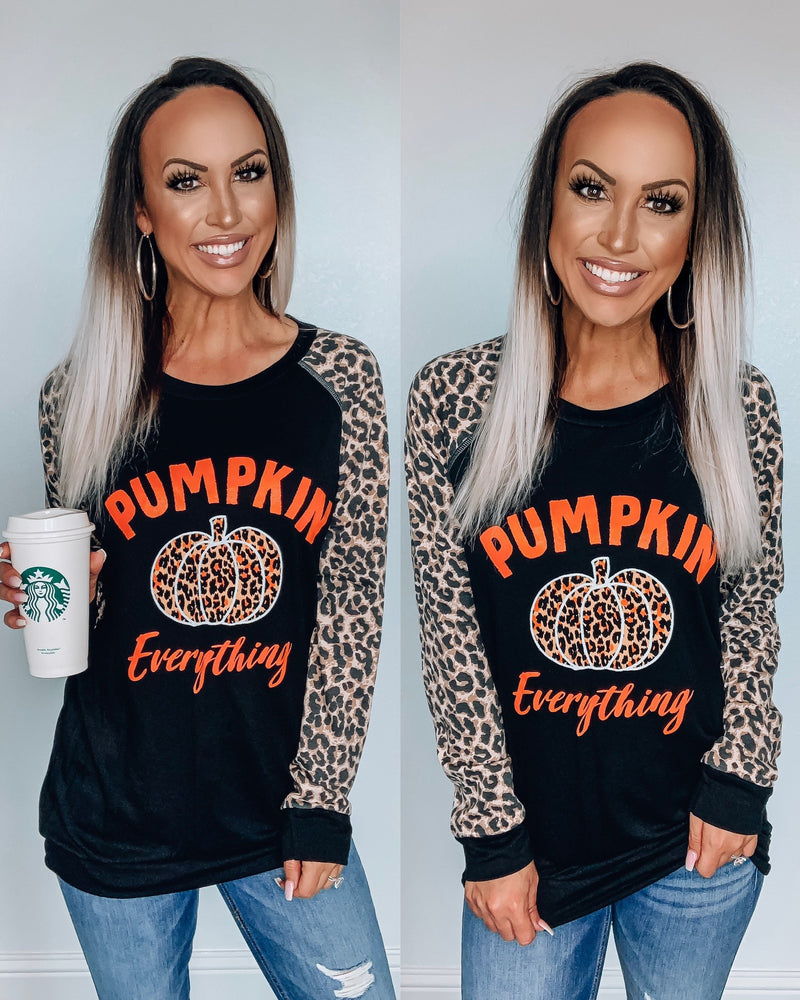 Pumpkin Everything Leopard Sleeve Top