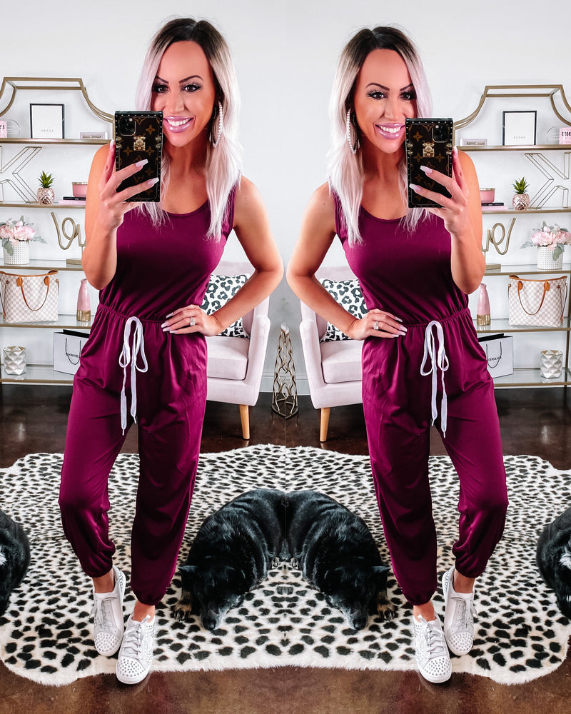 Stand Your Ground Jumpsuit - Burgundy {BombDEAL}