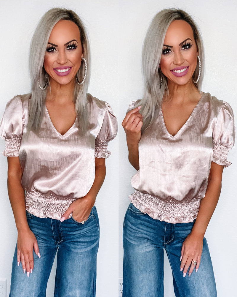 Gotta Have It Satin Smocked Top - Champagne