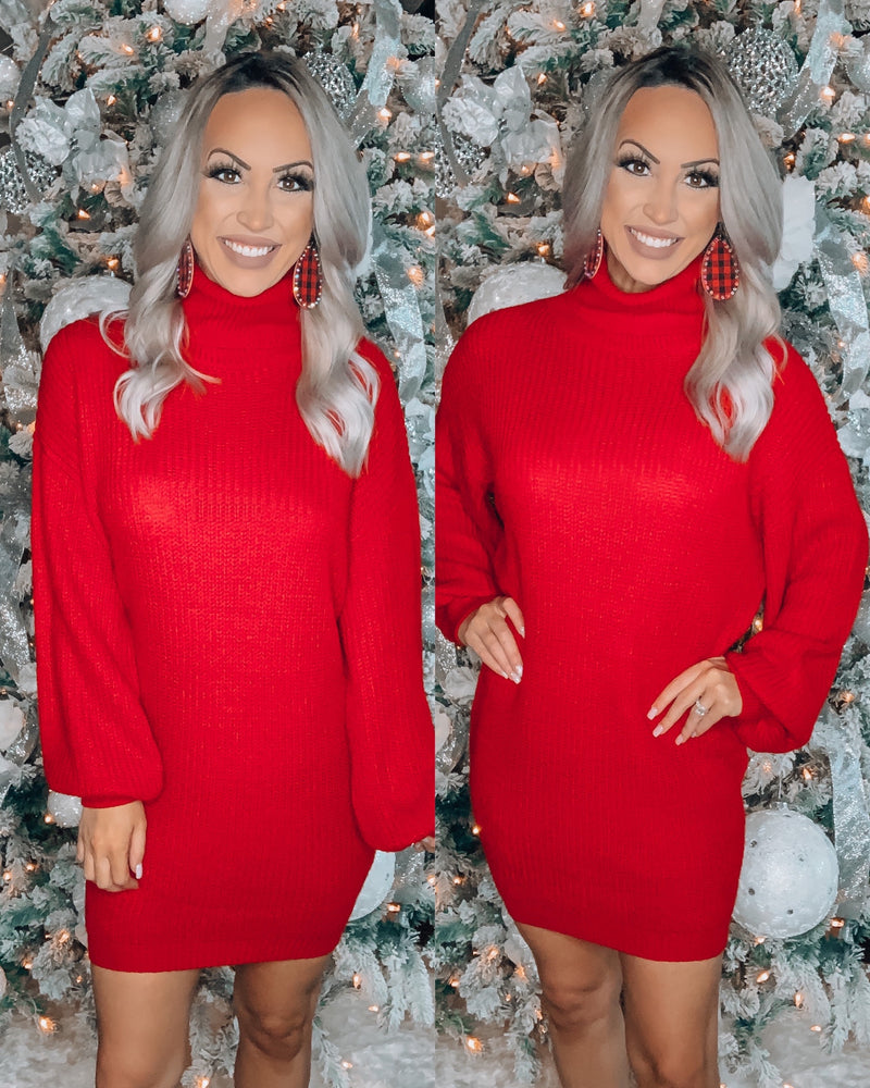 Dress To Impress Turtle Neck Dress - Red