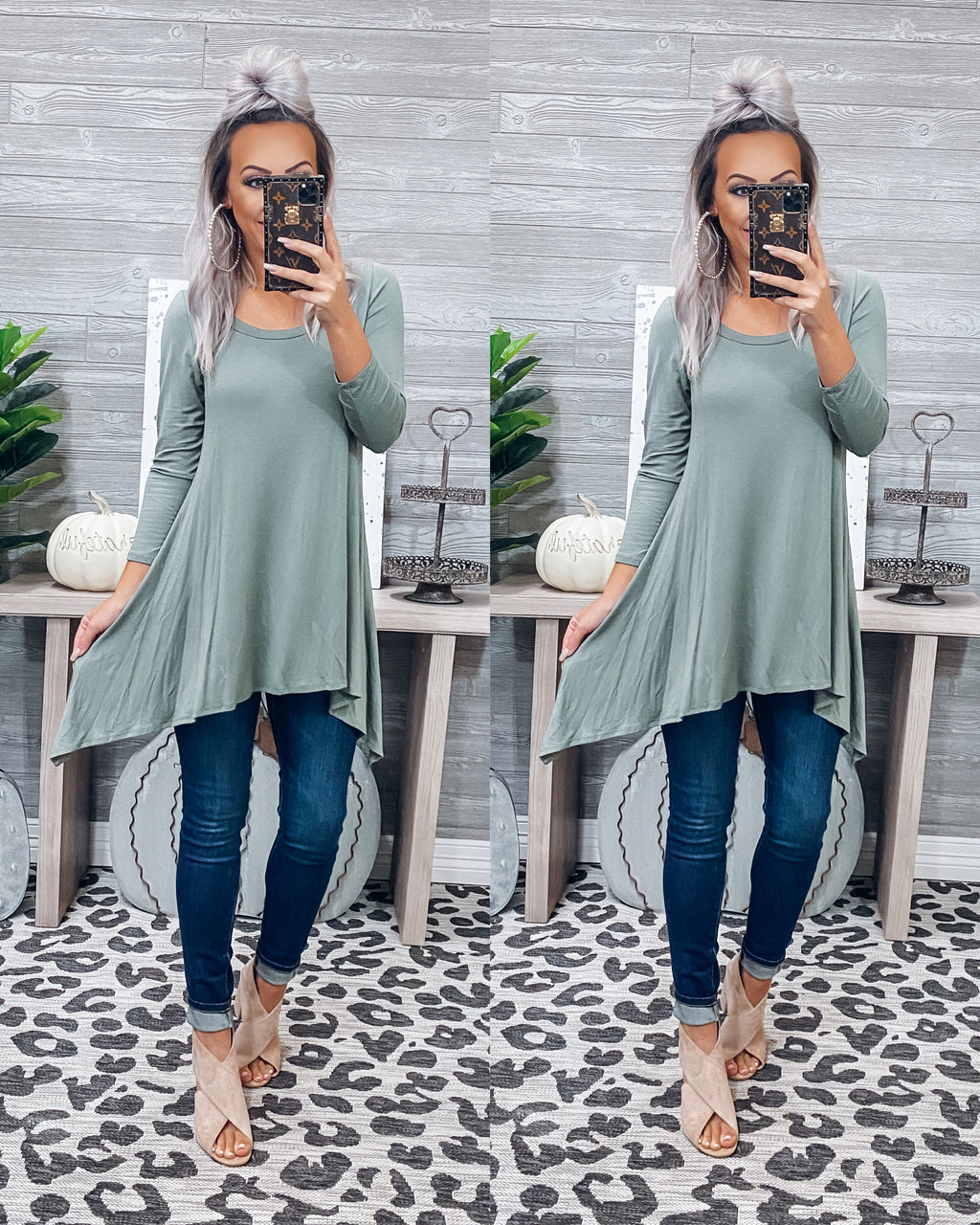 Carrying Your Love With Me Tunic - Olive {BombDEAL}